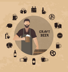 brewer own brewery with a beer in the hand vector image