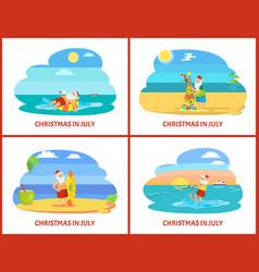 Cartoon on beach in july vector