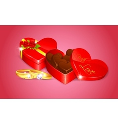 Chocolate in Heart Shape Box vector