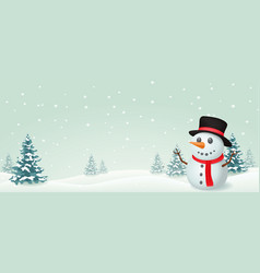 christmas snowman banner design vector image