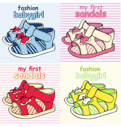 colorful childrens sandals with bows vector image