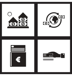 Concept flat icons black and white economy vector