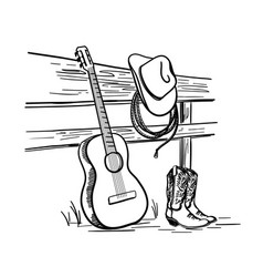 Cowboy country music with cowboy western boots vector