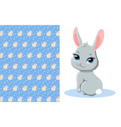 cute bunny and pattern vector image