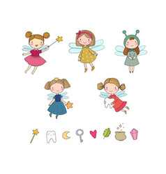 cute cartoon fairies fairy elves childrens vector image