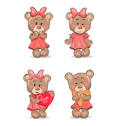 Cute female bear in pink dress with bow on head vector