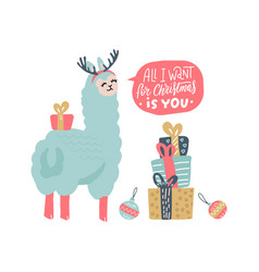 Cute llama christmas card with lettering vector