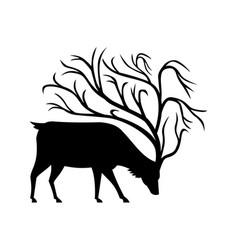 Deer with tree antlers mascot vector