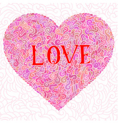 doodle hearts with text love vector image