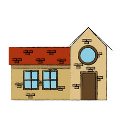 drawing house door round window brick residential vector image