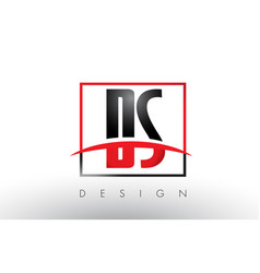 ds d s logo letters with red and black colors and vector image