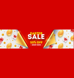 easter sale get up to 50 percent discount banner vector image