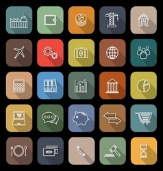 Economy line flat icons with long shadow vector image