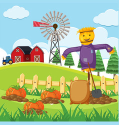 Farm scene with pumpkin patch vector