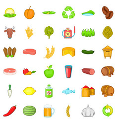 Farm working icons set cartoon style vector