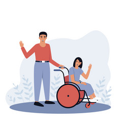 Father with disabled daughter vector