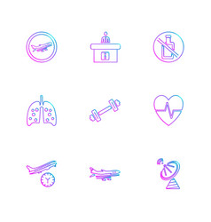 Fitness nutrious workout travelling eps icons vector