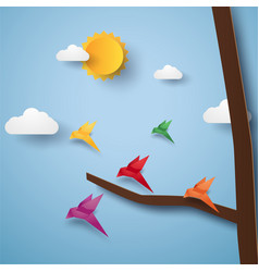 Flock of birds flying paper art style vector