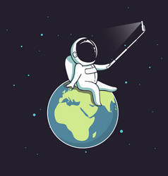 Funny astronaut make selfie on earth vector