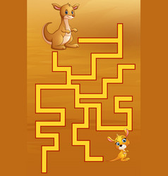 game kangaroos maze find their way to the child vector image