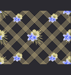 Geometric seamless pattern with flowers vector