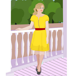 girl in the yellow dress vector image
