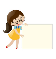 Girl with glasses holding blank paper vector