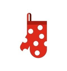 Glove potholder with polka dots icon flat style vector
