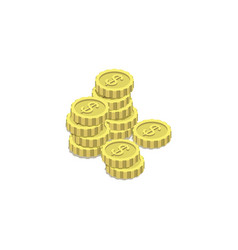 golden coins isometric 3d icon vector image