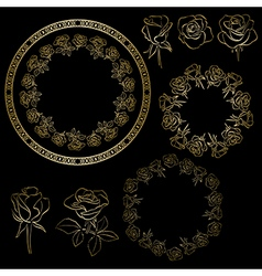 Golden roses and frames of flowers - floral set vector