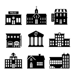 Government buildings black and white icons vector
