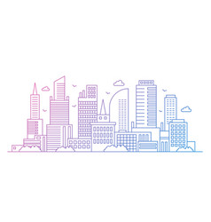 gradient color line art modern big city vector image
