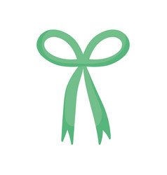 Green bow ribbon decoration icon vector