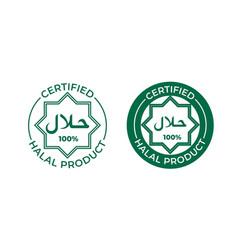 Halal food certified label muslim halal vector
