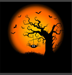 Halloween background with hanging spider vector