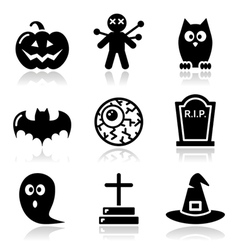 Halloween black icons set - pumpkin witch ghost vector