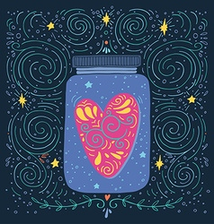 Hand drawn vintage print with a jar and decorated vector image
