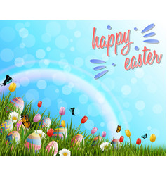 happy easter with eggs and tulip flowers on grass vector image