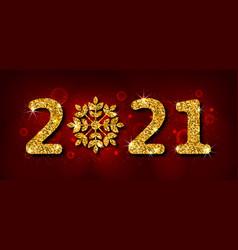happy new year 2021 golden shimmering header vector image