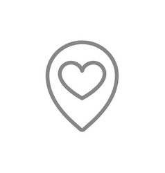 Heart with location mark love direction line icon vector