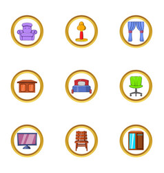 indoor furniture icon set cartoon style vector image