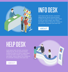Information and help desk isometric flyers vector