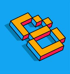 Isometric b letter b 3d logo vector