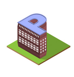 Isometric building letter p form vector