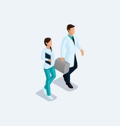 isometric set of doctors nurses surgeons vector image