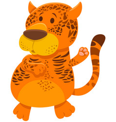Jaguar cartoon wild animal character vector