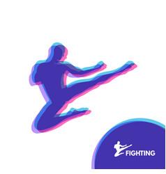 karate jump kick fighter human body sport symbol vector image