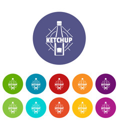 ketchup icons set color vector image