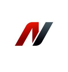 Letter n logo speed logo design concept template vector