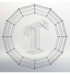 letter T Fonts of Mesh vector image